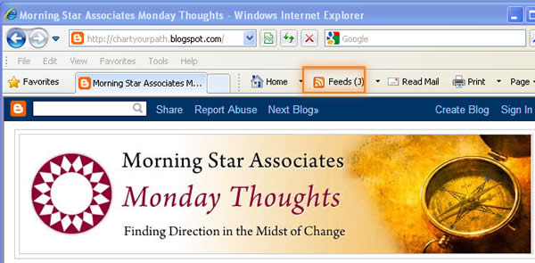 Sign up for RSS Feeds of the Monday Thoughts Blog
